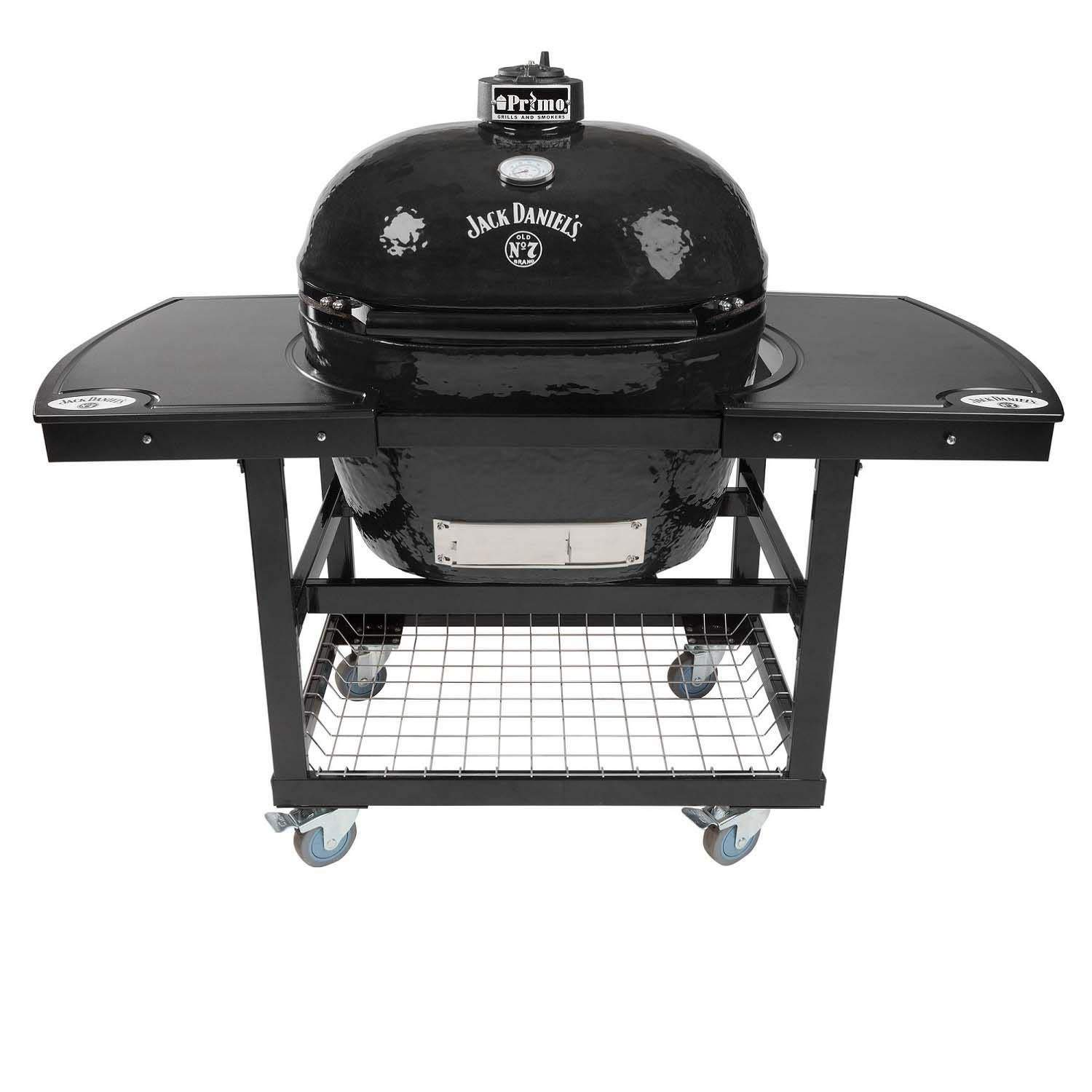 Primo Oval XL 400 Ceramic Smoker Grill Jack Daniel's Edition On Cart with 2-Piece Jack Daniel's Island Top by