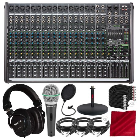 Mackie Mixing Board (Mackie ProFX22v2 22-Channel Sound Reinforcement Mixer with Built-In FX with Tascam TH-MX2 Mixing Headphones, Dynamic Handheld Mic, and Deluxe Audio)
