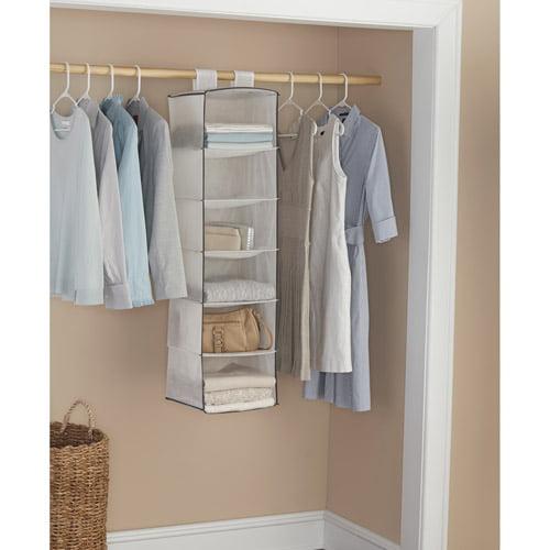 Mainstays 6-Shelf Organizers, White with Grey Trim, 2-Pack
