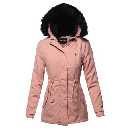 FashionOutfit Women's Casual Long Sleeve Hooded War Winter Faux Fur Lined Parka Outdoor Jacket