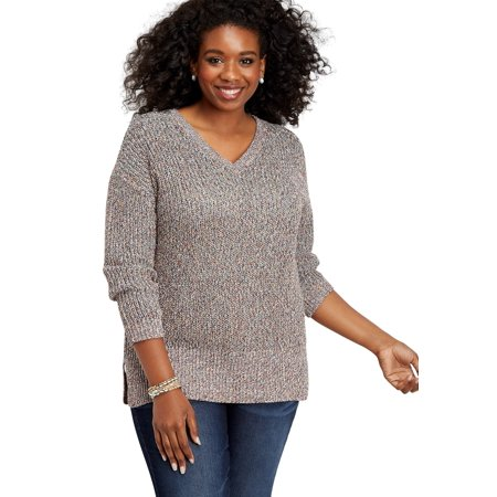 Plus Size Cable Knit Open Back Sweater Plus Cable Knit Trim Sweaters
