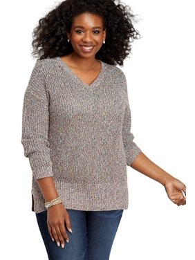 Plus Size Cable Knit Open Back Sweater