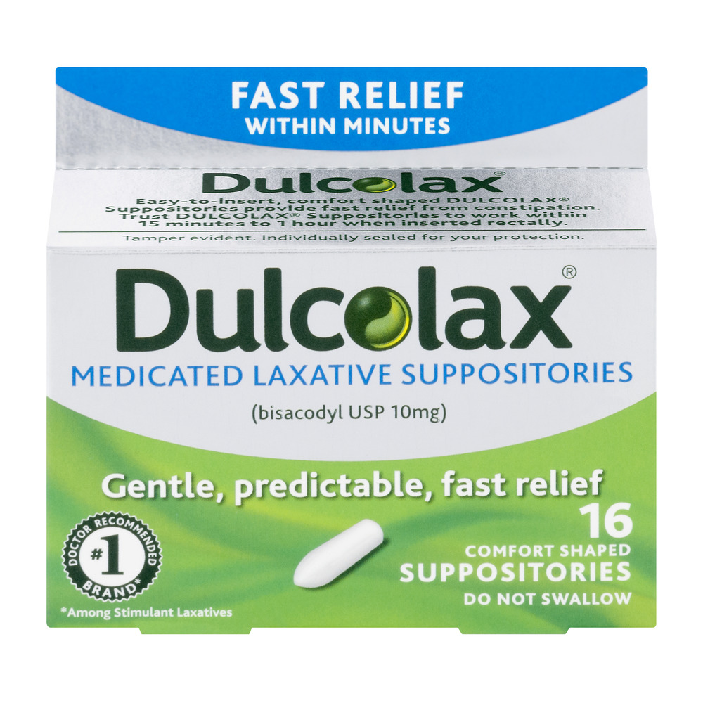 Dulcolax Medicated Laxative Suppositories 16ct, bisacodyl USP 10mg