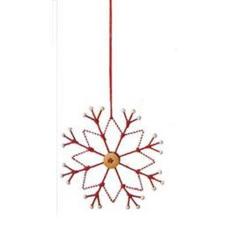 """6.5"""" Alpine Chic Tan, White and Red Country Rustic Style Snowflake Christmas Ornament - image 1 of 1"""