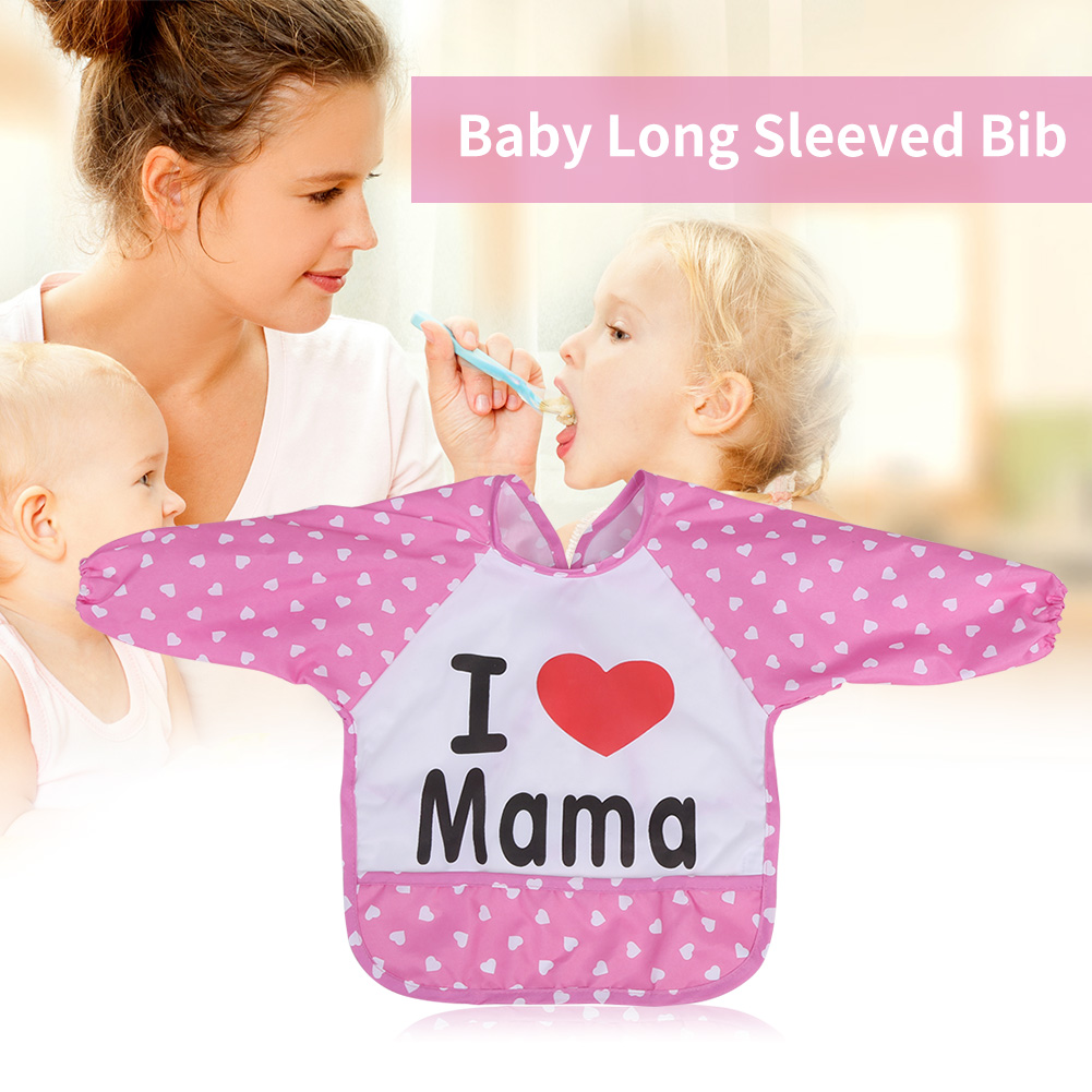 6272f70b9 2 Colors Choices Long Sleeved Nylon Made Baby Lunch Eating Bib for 1 ...