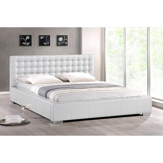 Madison White Modern King Size Bed With Upholstered Headboard