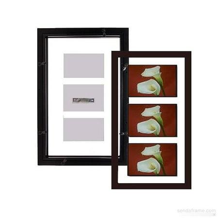 The original FLOAT u and u DOUBLE-SIDED 10x20 3-5x7 or 4-4x6 flex size  Walnut-Brown wall frame