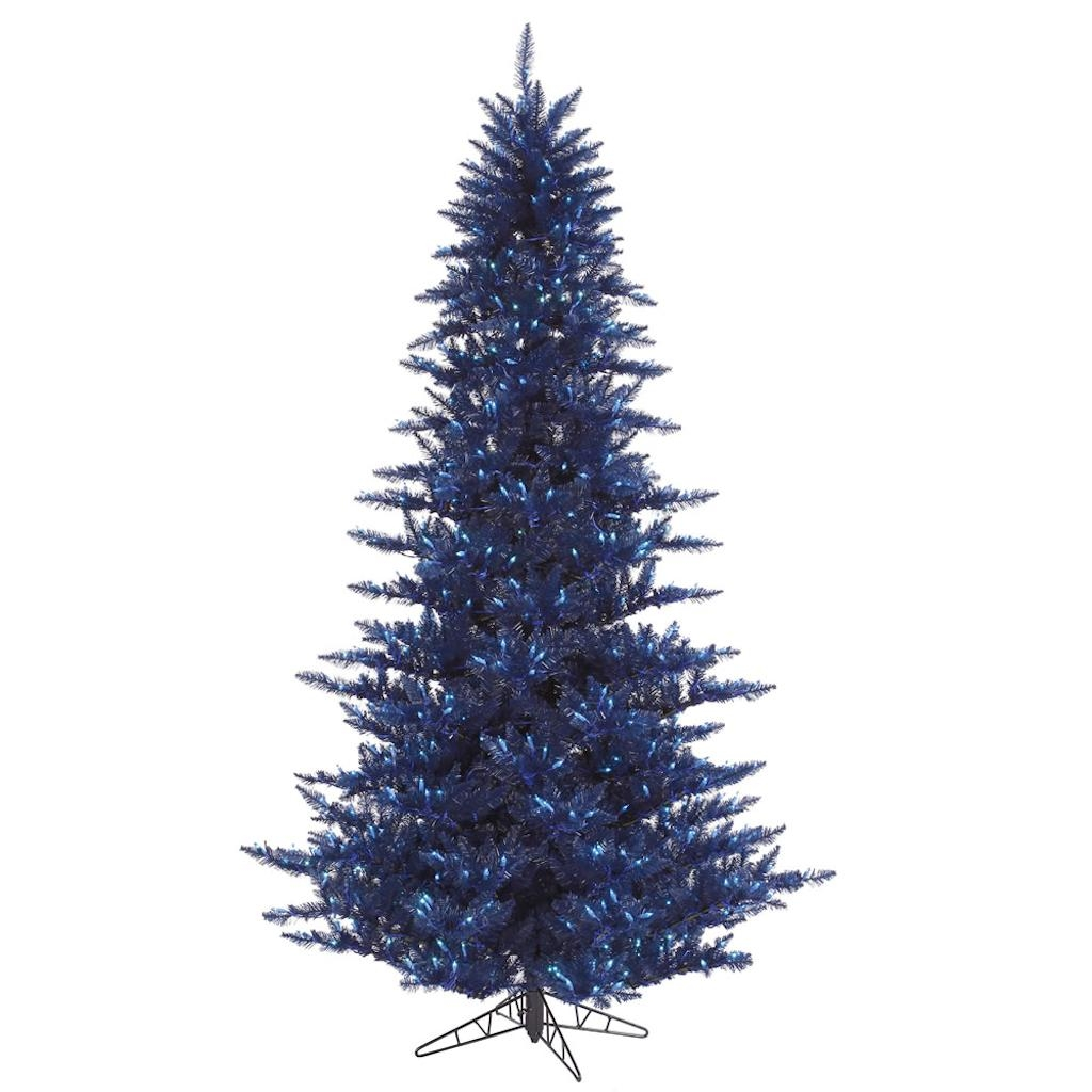 "Vickerman 431108 - 10' x 68"" Navy Blue Fir Tree with 1,150 Blue LED Lights Christmas Tree (K160686LED)"