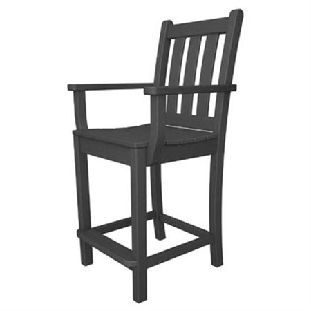 "Traditional Garden 24"" Barstool, Slate Grey, Counter (24""-26""), Square Seat, Mission Back, Black"
