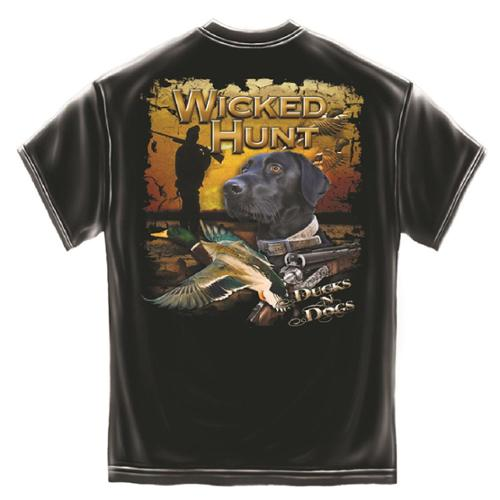 Wicked Hunt Ducks and Dogs Hunting T-Shirt by Erazor Bits, Black, 2XL