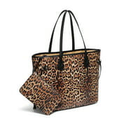 Daisy Rose Tote Shoulder Bag with inner pouch - PU Vegan Leather - Leopard