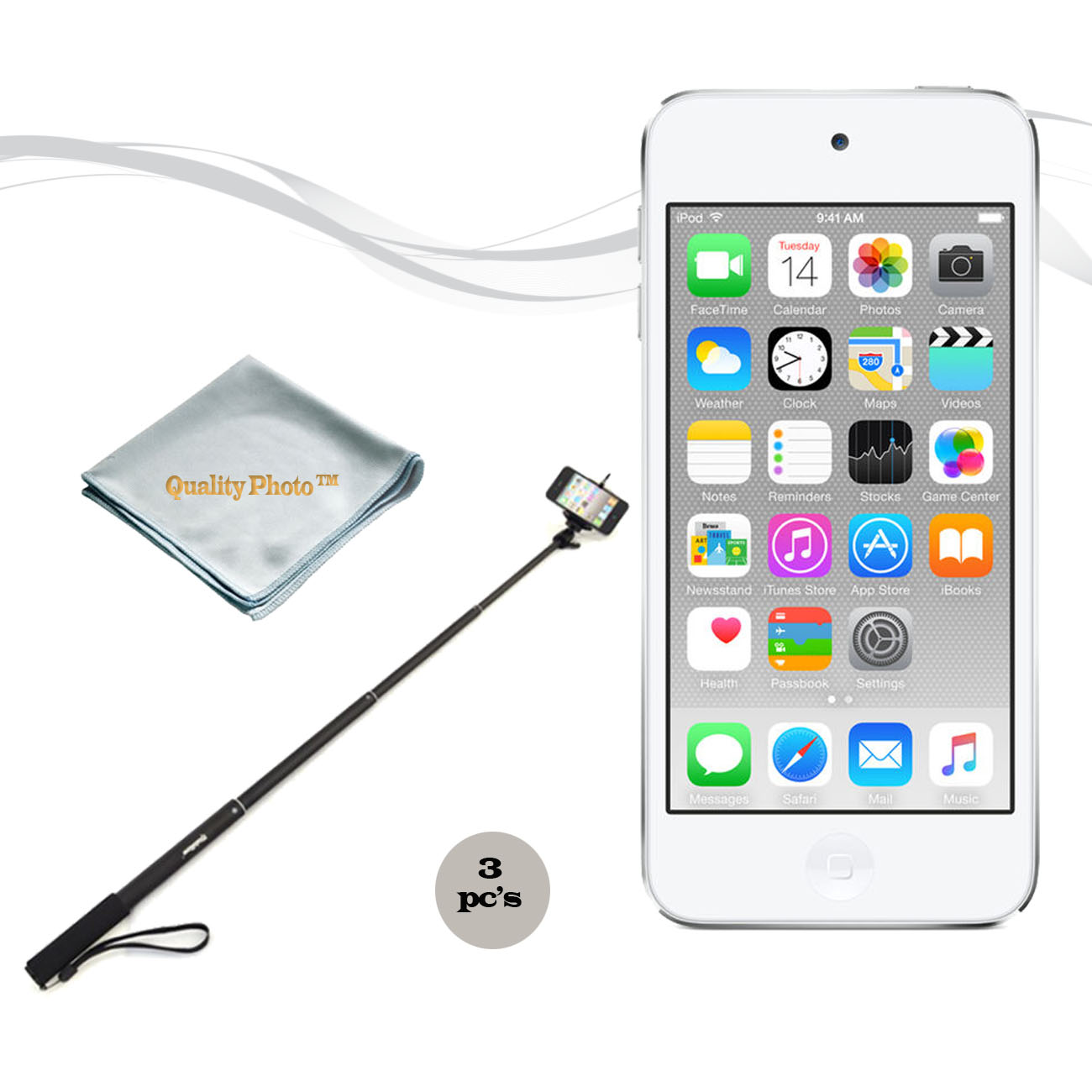 Apple Ipod Touch 16GB Silver (6th Generation) with a Istabilizer Istmp01 Monopod and Quality Photo Microfiber Cloth