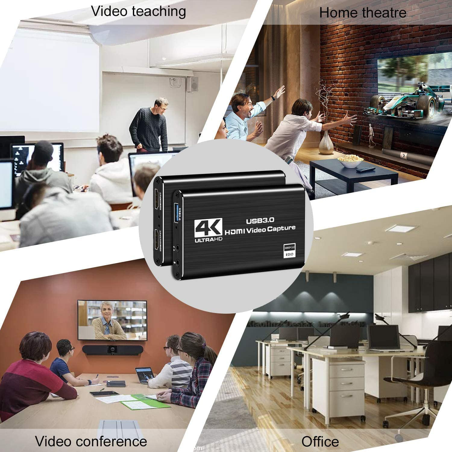USB 3.0 HDMI Video Capture Device Live Streaming Broadcasting-Silver DIGITNOW Audio Video Capture Card Full HD 1080P for Game Recording
