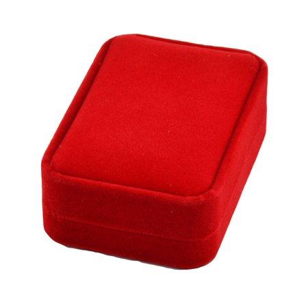 Unique Bargains Anniversary Birthday Velvet Rectangle Pendant Jewelry Gift Box Red 10 x 7cm