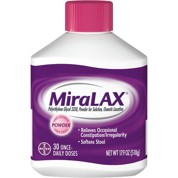 MiraLAX Laxative Powder for Gentle Constipation Relief, 30 Doses