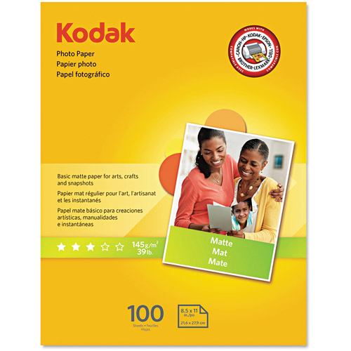 "Kodak Photo Paper, Matte, 7 mil, 8-1/2"" x 11"", 100 Sheets/Pack"