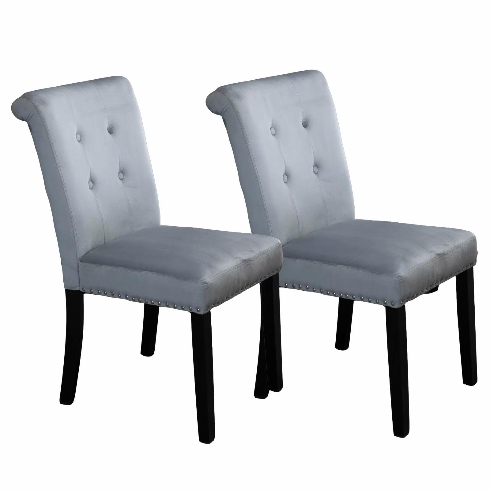 Jl Set Of 2 Vanity Chairs With Backs Velvet Fabric Vanity Chair Gray Walmart Com Walmart Com