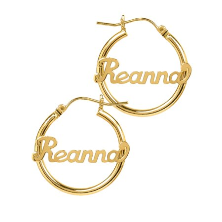 Personalized 14K Gold Over Sterling Silver Tube Hoop Script Name Earrings 14k Gold Name Earrings