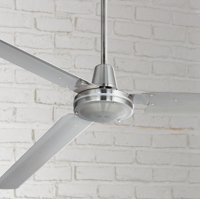 """72"""" Casa Vieja Modern Industrial Outdoor Ceiling Fan Brushed Nickel Wall Control Damp Rated for Patio Porch"""