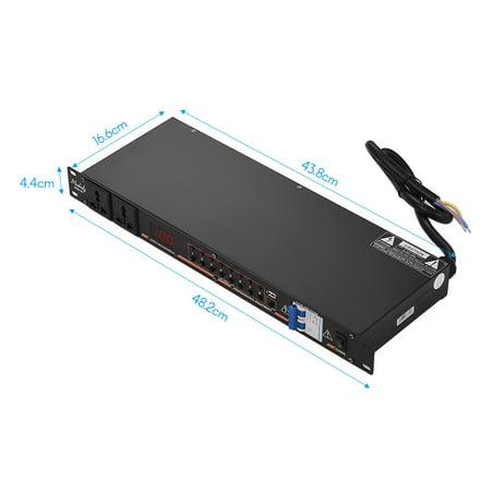 Contrôleur de séquence de puissance Muslady DB2-02 10 prises pour montage en rack Régulateur de protection contre les surtensions Régulateur d'alimentation avec affichage à LED Interface USB pour - image 7 of 7