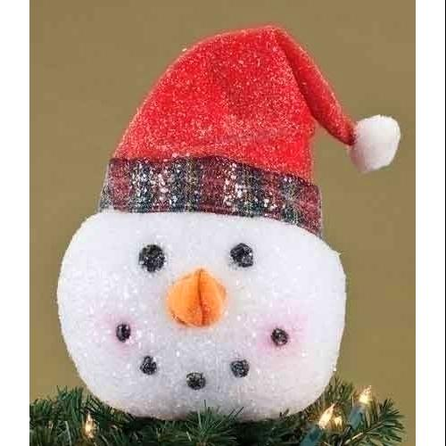 I Made a Snowman Head with Red Santa Hat Glittered Christmas Tree Topper - Unlit
