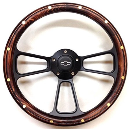 - 1970 & up Chevrolet Monte Carlo Wood & Black Billet Steering Wheel & Adapter