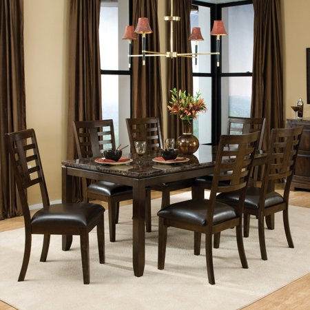 Standard Furniture Bella 7 Piece Dining Table Set with Faux Marble