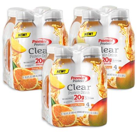 Premier Protein Clear Protein Drink  Orange Mango  20G Protein  12 Ct