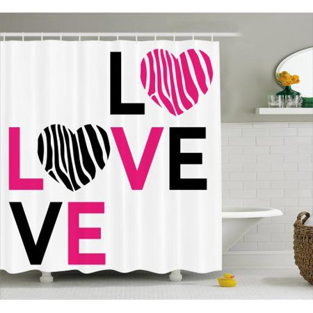 Pink Zebra Shower Curtain I Love You Calligraphy Stripes Hearts Valentines Illustration Fabric
