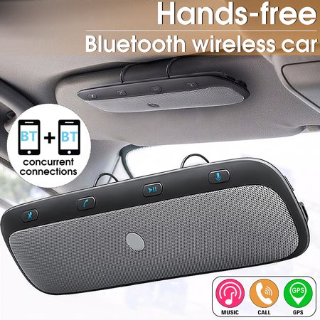 Wireless bluetooth Multipoint Handsfree Speakerphone Kit Car Sun Visor MP3 Player Speakers Hands-free Phone Audio Music Receiver Devices (With Iron Holde)+ Car Charger + USB Cable ()