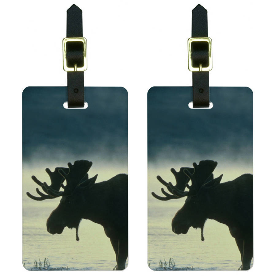 Moose Luggage Tags Suitcase Carry-On ID, Set of 2