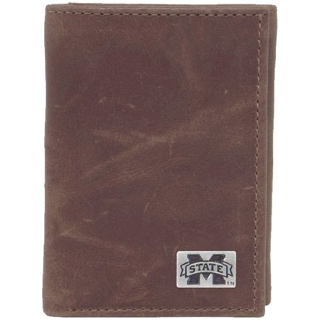 Mississippi State Bulldogs Wallet (Mississippi State Bulldogs Leather Trifold Wallet - Brown - No)