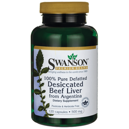 Swanson 100% Pure Defatted Desiccated Beef Liver 500 mg 120 - Beef Liver Powder