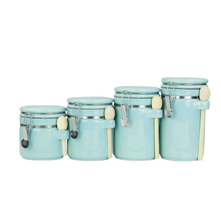 Home Basics 4-piece Ceramic Canister Set with Wooden Spoons, Turquoise