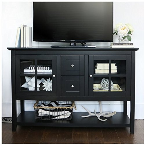 Contemporary Black 52-inch Wood Media Cabinet  Buffet by Eziba
