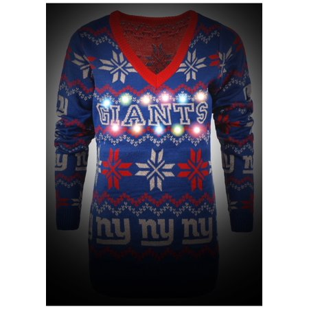 b9b209aa New York Giants Womens Light Up V-Neck Bluetooth Sweater