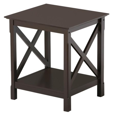 3 Tier Display Tables (Topeakmart 2 Tiers X-Design Wood End Table Storage Display End Table Espresso )