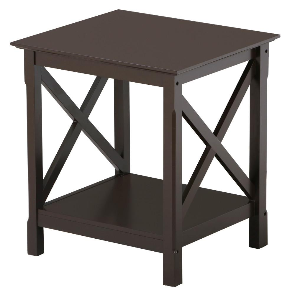 Topeakmart 2 Tiers X-Design Wood End Table Storage Display End Table Espresso