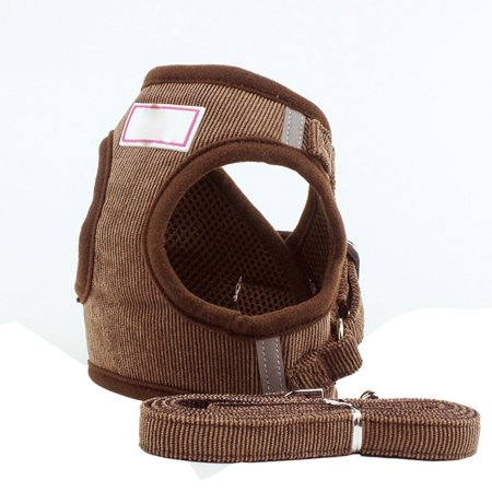 Adjustable Puppy Dog Pet Vest Harness Soft Nylon Leash Collar Walk Out Hand Strap With Tow Rope Coffee