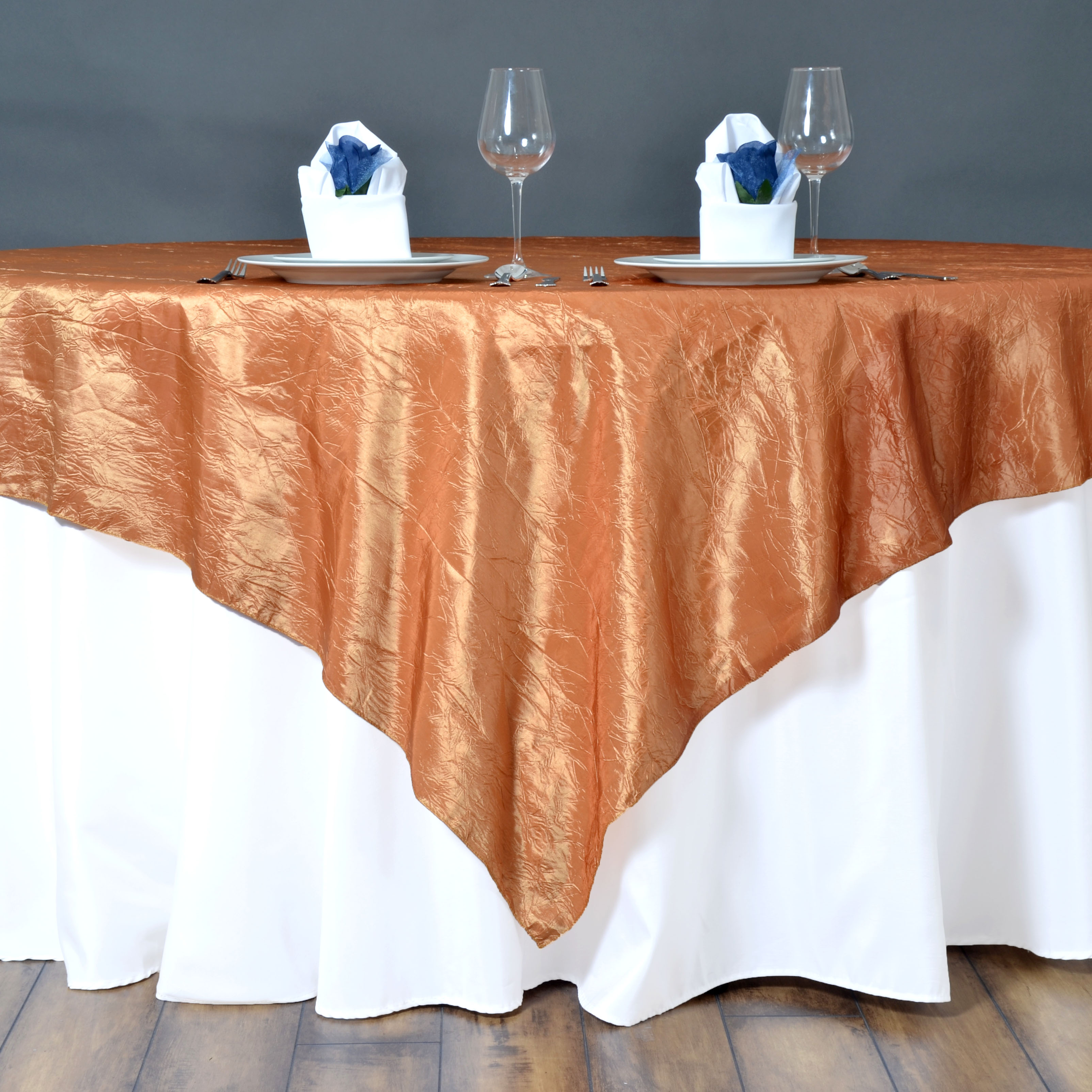 """BalsaCircle 90"""" x 90"""" Taffeta Crinkle Table Overlays - Wedding Party Reception Catering Linens Dinner Banquet Event Decorations"""