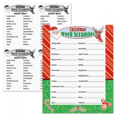 Christmas Word Scramble Game - 12 Game Cards, 8