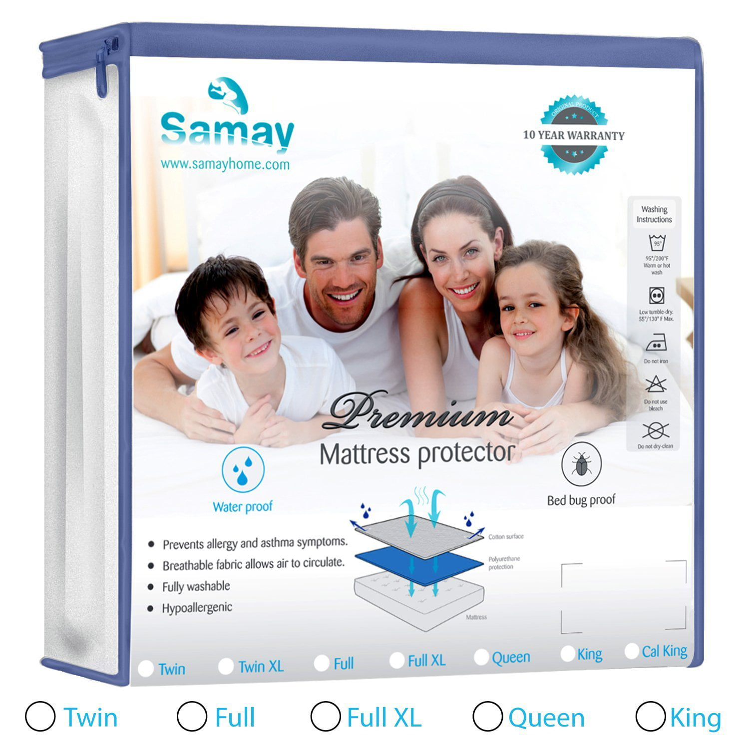 Mattress Bed Encasement Cover Zippered Waterproof Amp Bed
