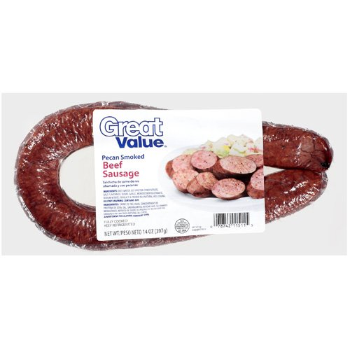Great Value: Pecan Smoked Beef Sausage, 14 Oz
