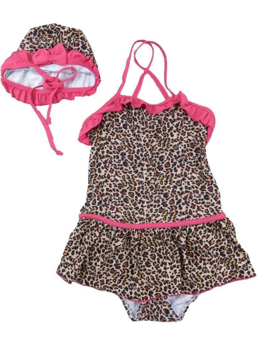 Wenchoice Little Girls Brown Leopard Print Ruffle Trim Cap Swimsuit