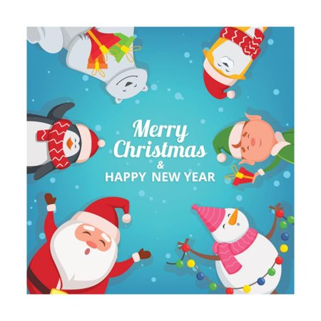 christmas background with funny characters design template with