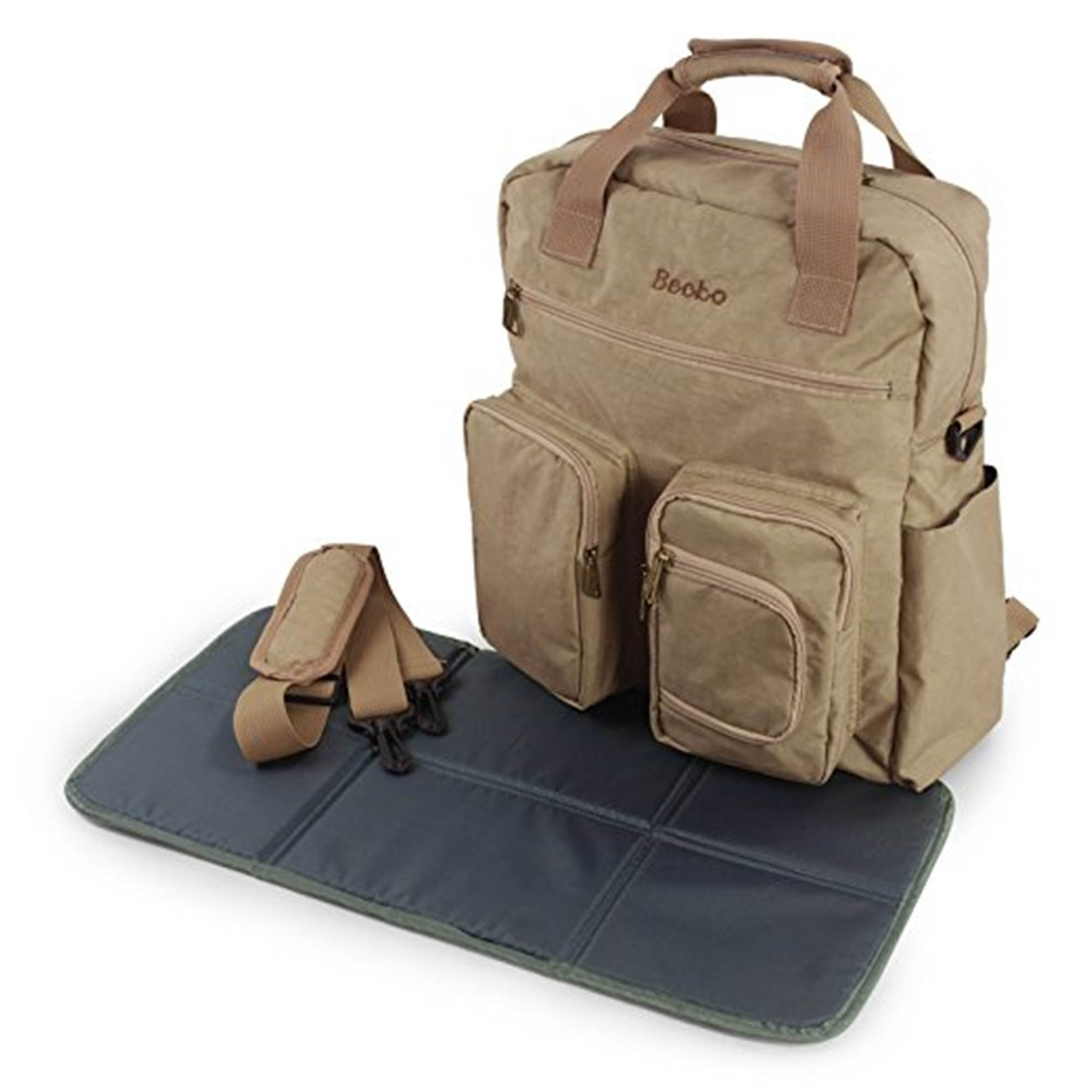 Becko Khaki Multi-functional Diaper Backpack with Changing Pad
