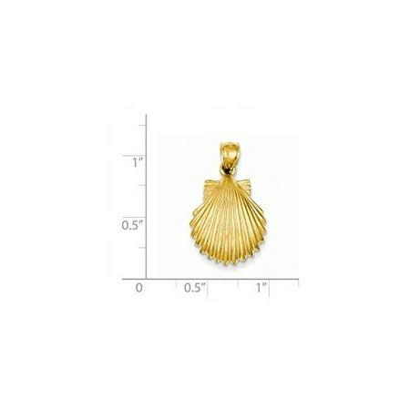 14K Yellow Gold Scallop Shell Charm (Scallop Pendant Shell Pendant)