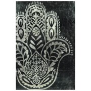 "Empire Art Direct Night Hamsa I Reverse Printed Tempered Glass with Silver Leaf Wall Art, 48"" x 32"" x 0.2"", Ready to Hang"