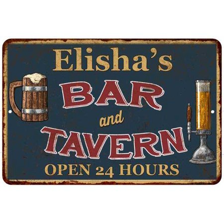 Elisha's Green Bar & Tavern Personalized Rustic Sign 12 x 18 Matte Finish Metal 112180047595
