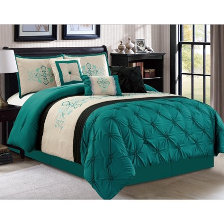 empire home pintuck teal 7 piece comforter set over sized pinch pleated bedding with 20935 king. Black Bedroom Furniture Sets. Home Design Ideas